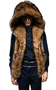 男性用 日常 冬 レギュラー ファーコート, ソリッド ノースリーブ フェイクファー Brown XL / XXL / XXXL