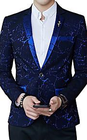 Hombre Fiesta / Trabajo Primavera Regular Blazer, Floral Escote en Pico Manga Larga Poliéster Negro / Rojo / Azul Real XL / XXL / XXXL