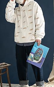 男性用 長袖 パーカー - ソリッド フード付き