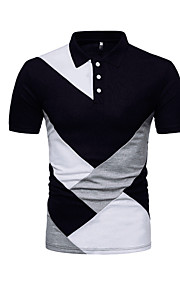 Hombre Básico Retazos - Algodón Polo, Cuello Camisero Bloques Blanco XL / Manga Corta / Verano