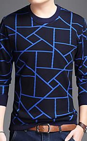 Муж. Футболка Круглый вырез Уличный стиль Полоски Синий XL / Длинный рукав