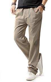 Erkek Temel Büyük Bedenler Keten Chinos / Eşoğman Altı Pantolon - Solid Bej