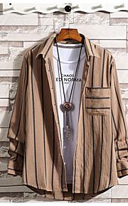 Hombre Básico Camisa Un Color / A Rayas Amarillo XL / Manga Larga