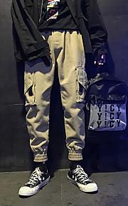 男性用 ストリートファッション チノパン / カーゴパンツ パンツ - ソリッド ブラック