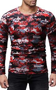 Herrn Einfarbig / camuflaje - Grundlegend Baumwolle T-shirt, Rundhalsausschnitt Druck Blau L / Langarm