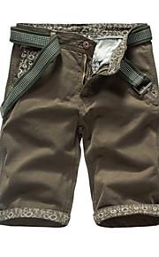 男性用 ベーシック アジア人サイズ コットン スリム ショーツ パンツ - ソリッド ハイウエスト グレー