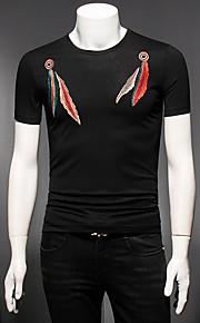 男性用 プラスサイズ Tシャツ ラウンドネック スリム グラフィック コットン / 半袖