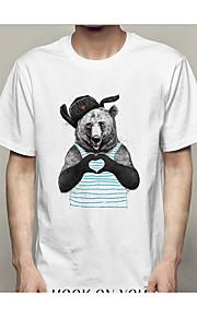 男性用 Tシャツ ラウンドネック スリム 幾何学模様 / 半袖