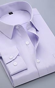 メンズプラスサイズのコットンスリムシャツ - ソリッドカラーのシャツの襟