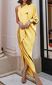 Жен. Тонкие С летящей юбкой Платье - Однотонный, Оборки Ассиметричное