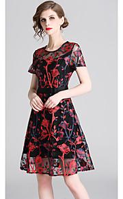 cc36259d10bb Γραμμή Α Με Κόσμημα Μέχρι το γόνατο Τούλι Φόρεμα με Κέντημα με LAN TING  Express