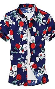 男性用 シャツ フラワー コットン / 半袖 / 春