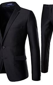 男性用 スーツ, ソリッド ノッチドラペル ポリエステル ブラック L / XL / XXL