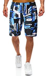 男性用 スポーティー ベーシック ネイビーブルー サーフショーツ ボトムス スイムウェア - カラーブロック レースアップ プリント L XL XXL ネイビーブルー