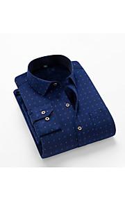 メンズプラスサイズのスリムシャツ - 水玉シャツの襟