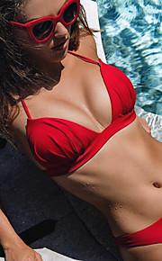 女性用 スポーティー ベーシック ピンク イエロー フクシャ ホルター チーキー タンキニ スイムウェア - ソリッド バックレス S M L ピンク