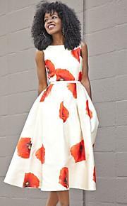 Жен. Элегантный стиль А-силуэт Платье - Цветочный принт Средней длины