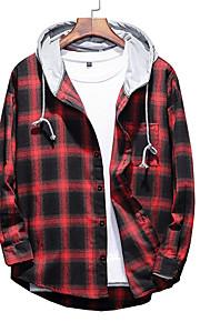 男性用 プラスサイズ シャツ フード付き チェック