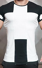 男性用 Tシャツ ラウンドネック スリム レタード コットン