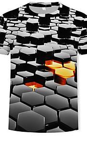 Miesten Pyöreä kaula-aukko Puuvilla Painettu Geometrinen / Color Block / 3D T-paita Musta XXXXL