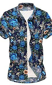Heren Overhemd Bloemen blauw XXXXL