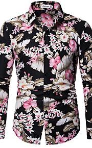 Skjorte Herre - Blomstret Svart XL
