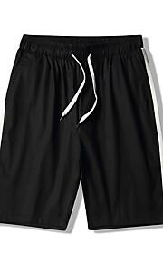 Hombre Básico / Chic de Calle Shorts Pantalones - Un Color / A Rayas Azul Piscina