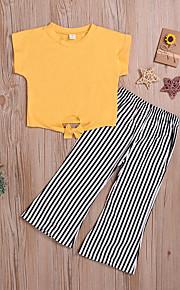 Dítě Dívčí Základní / Šik ven Jednobarevné / Proužky Krátký rukáv Standardní Standardní Bavlna Sady oblečení Žlutá