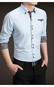 Муж. Рубашка Однотонный Серый XXXL