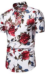 Муж. С принтом Рубашка Цветочный принт Синий XL
