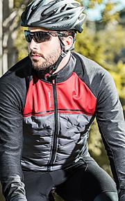 SANTIC Pánské Cyklo bunda Jezdit na kole sako Reflexní Větruvzdorné Prodyšné Sportovní Polyester Spandex Síťka Zima Černá / červená Horská cyklistika Silniční cyklistika Oblečení Pokročilý / elastan