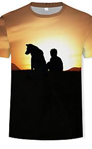 Ανδρικά T-shirt Συνδυασμός Χρωμάτων / 3D / Ζώο Στάμπα Ουράνιο Τόξο XL