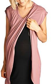 Dámské Základní Elegantní Tričko Tunika Šaty - Jednobarevné, Patchwork Délka ke kolenům