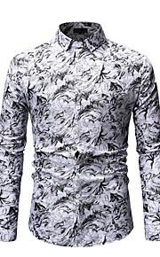 Heren Overhemd Geometrisch blauw XL