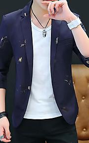 Муж. Блейзер, Геометрический принт Лацкан с тупым углом Полиэстер Белый / Черный / Темно синий XL / XXL / XXXL