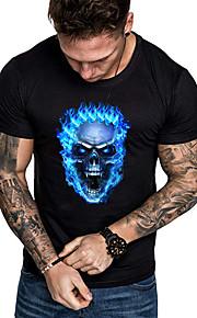 Camiseta de algodón para hombre - calavera con cuello redondo.