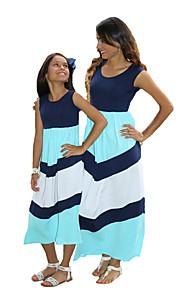 Mami a mnou Základní Proužky / Barevné bloky Bez rukávů Standardní Standardní Maxi Bavlna / Polyester Šaty Světle modrá