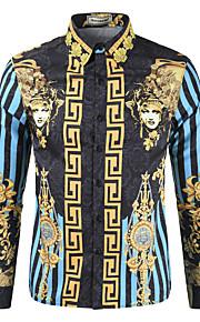 Heren Print Overhemd Regenboog blauw XL