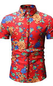 Муж. Рубашка Цветочный принт Красный XL