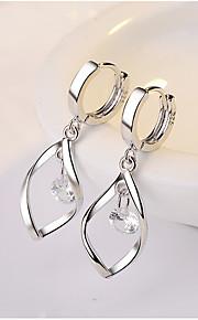 Dámské Průsvitné Kubický zirkon Dlouhé Náušnice - Kruhy S925 Sterling Silver Náušnice láska Sladký Módní Šperky Stříbrná Pro Svatební Párty Denní 1 Pair