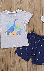 Děti / Toddler Chlapecké Aktivní / Základní Geometrický / Tisk / Komiks Tisk Krátký rukáv Standardní Standardní Bavlna / Polyester Sady oblečení Šedá