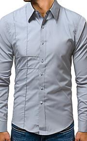 Муж. Рубашка Однотонный Черный XXL