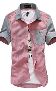 Муж. Пэчворк Рубашка Однотонный / Контрастных цветов Черный XL