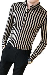 Herrn Gestreift Hemd Schwarz XL