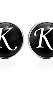 Písmeno Černá / Stříbrná / Hnědá Kol Düğmeleri sklo / Měď Alphabet Shape Klasické / Vintage Unisex Kostýmní šperky Pro Denní / Festival