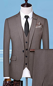 Hombre trajes Solapa de Pico Poliéster Negro / Gris / Caqui XXL / XXXL / XXXXL