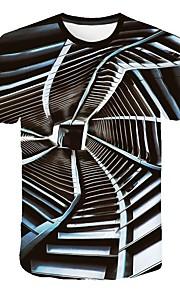 Hombre Talla EU / US Camiseta, Escote Redondo Delgado Geométrico Negro XXL