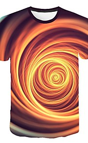 Hombre Talla EU / US Camiseta, Escote Redondo Delgado Geométrico Amarillo XXL
