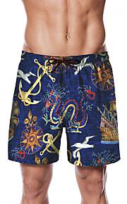 Herre Sporty / Basale Chinos / Shorts Bukser - Trykt mønster / Tropisk Blå