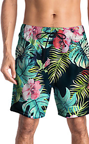Herre Sporty / Basale Chinos / Shorts Bukser - Planter / Tropisk / 3D Print Sort